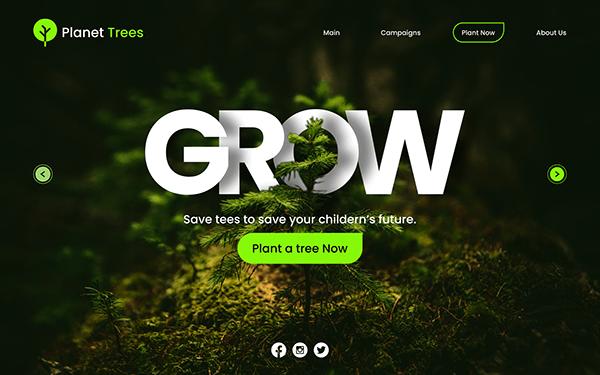 """Grow"" Hero Section Design"