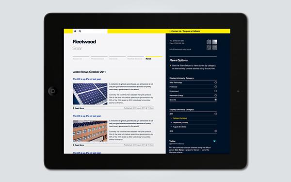 Fleetwood  architectural aluminium  solar photovoltaics  website