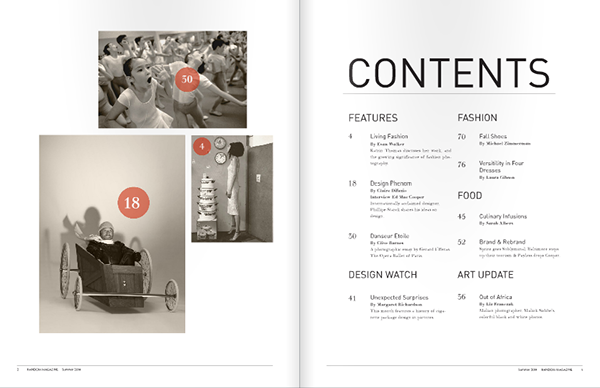 Random magazine on behance for Table of contents design