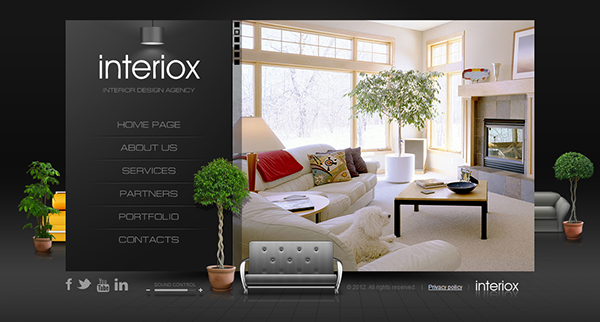 Interior Design Web Templates Interiox Interior Design Agency Html5 Template On Behance