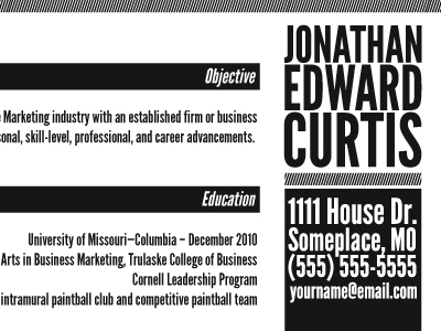 Marketing resume and business cards on behance detail of resume colourmoves