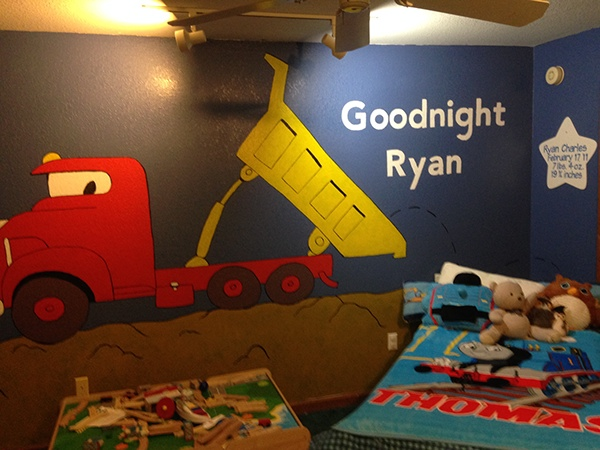 Goodnight goodnight construction site bedroom murals on for Construction site wall mural