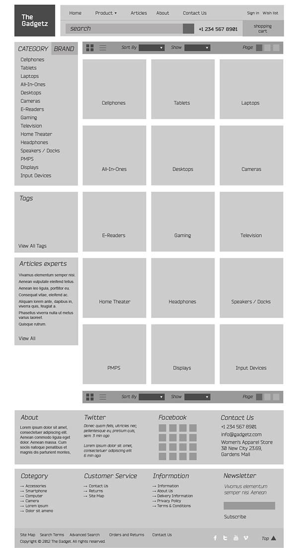shop Web online store magento e-commerce web shop basovdesign the gadgets hezy gadgetz gadgets Theme psd template themeforest sale