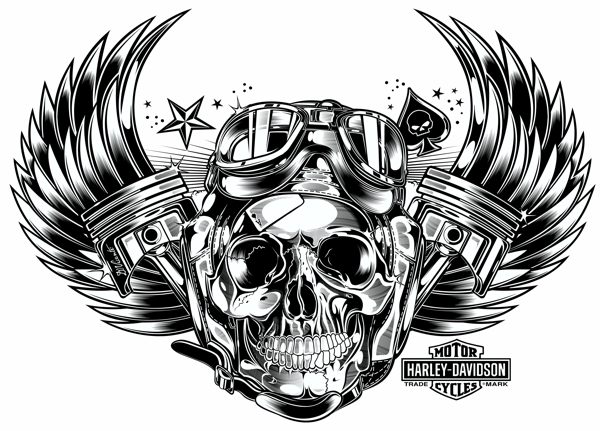 Design Skull And Pistons Make With CorelDraw X6 Tablette Wacom
