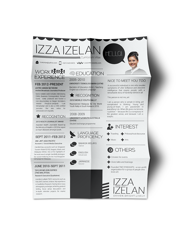 2014 Resume Cv Design Izza Izelan On Behance