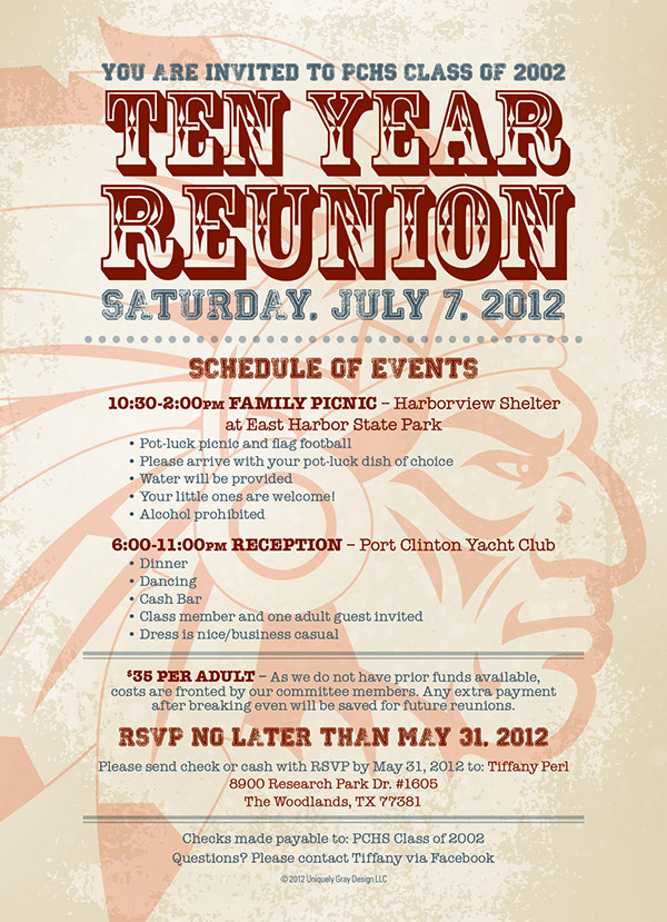 10 year class reunion invitation on behance