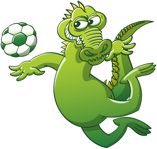 Terrific crocodile heading a soccer ball