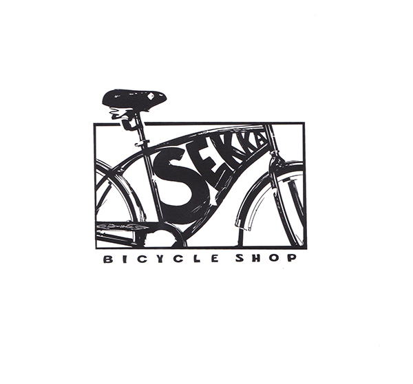 Bicycles,logo,black & white,Emily Moon,Illustrator,portrait,moon,Woolly Bully,Cross-Contour,Busts,faces,hair,impulse records