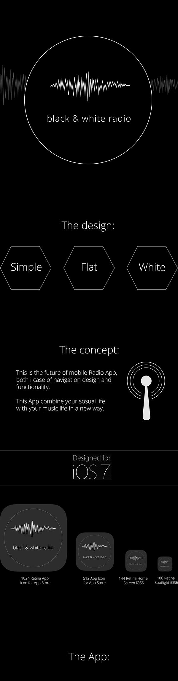 app app design Appdesign black and white Radio radio app mobile Mobile app allan ingwersen flat flat design black and whitedesign no colors Responsive Design Music Player
