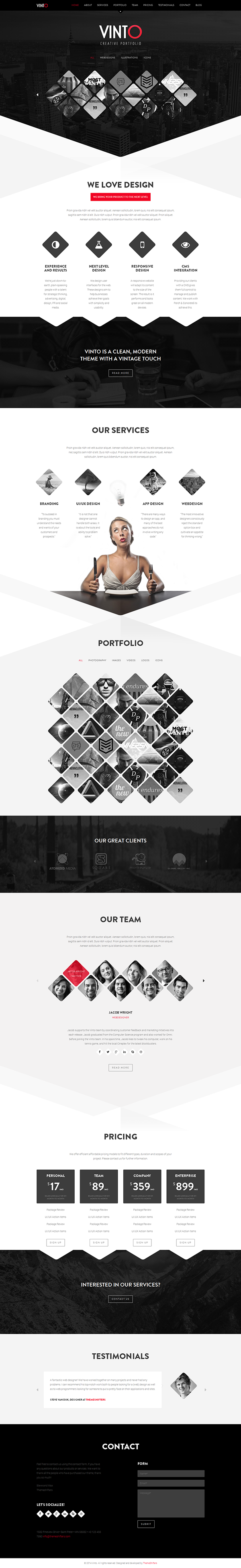 Vinto one page html template on behance vinto is a 100 fully responsive one page template designed for creative agencies photographers businesses and freelancers with its unique design its maxwellsz