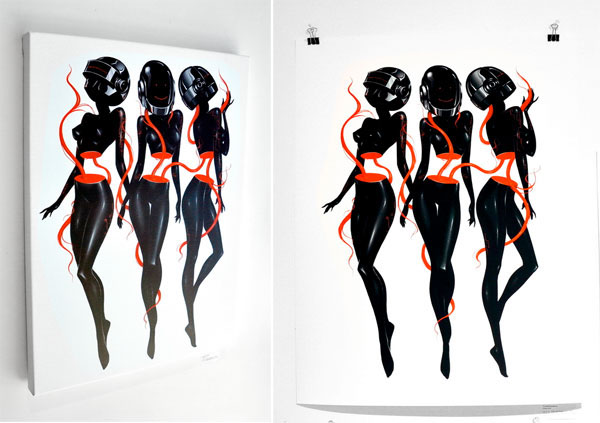 Rediscovery daft punk exhibition piece on pantone canvas for Daft punk mural