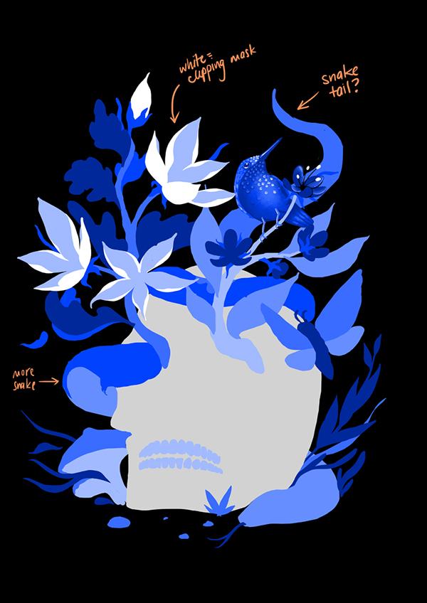 Threadless tee shirt tee design beauty skull death Nature colbalt Monochromatic floral snake