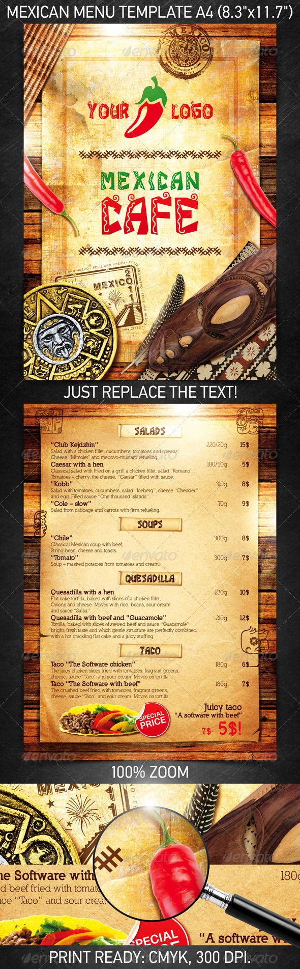 Mexican Menu Template Psd Template On Behance