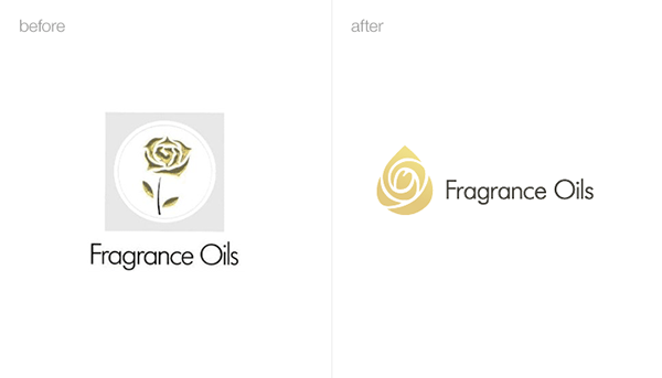 logo Fragrance perfumery rose drop oil gold identity brand