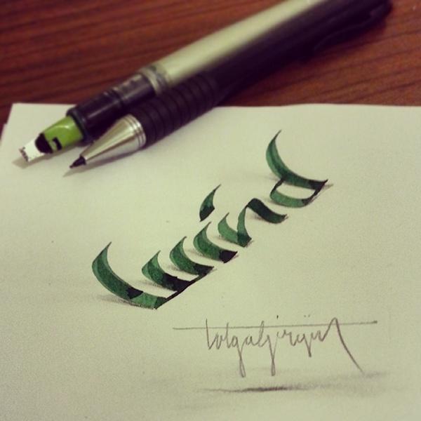 lettering 3dlettering anamorphic tolgagirgin handtype logo Logotype Kaligrafi art Handlettering handwriting