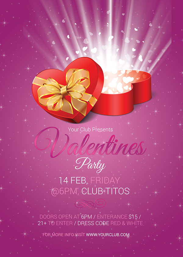 Valentines Day Party Invitation Flyer on Behance