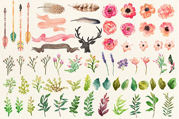 Watercolor flower DIY pack Vol.2 on Behance