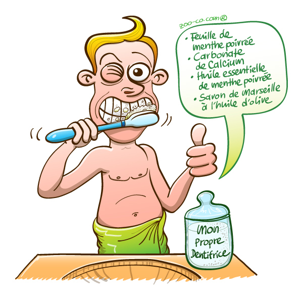 Homoecologicus man brushing his teeth with his own home made toothpaste