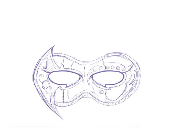 how to draw a masquerade mask