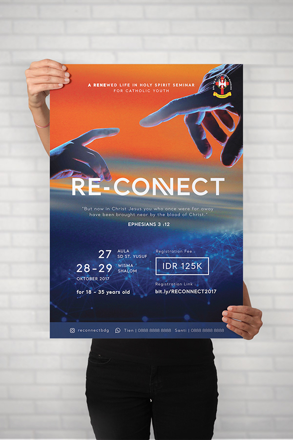 A person holding a brochure or flyer that promotes Bandung Youth Catholic Ministry's retreat called 'Reconnect' in 2017