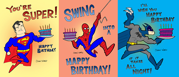 superhero birthday cards on behance, Birthday card