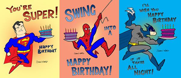 Superhero Birthday Cards on Behance