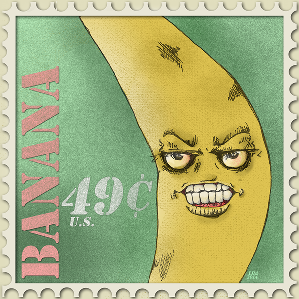 Angry Banana Postage Stamp Design On Behance