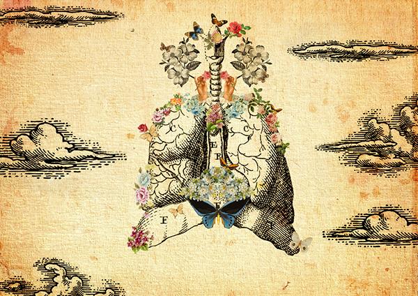 collage organic Flowers heart eyes vintage brain paper Victorian