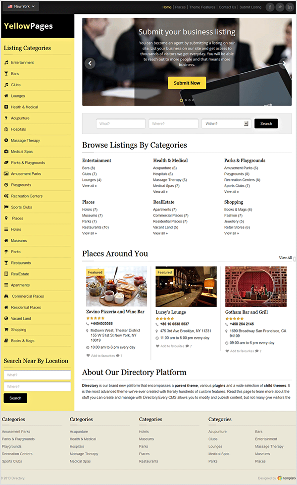 Yellow Pages WordPress Responsive Directory Theme on Behance