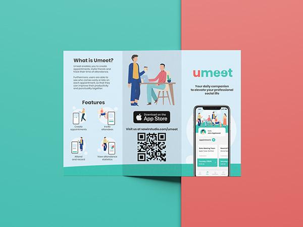 The front side of Umeet's Brochure or flyer design