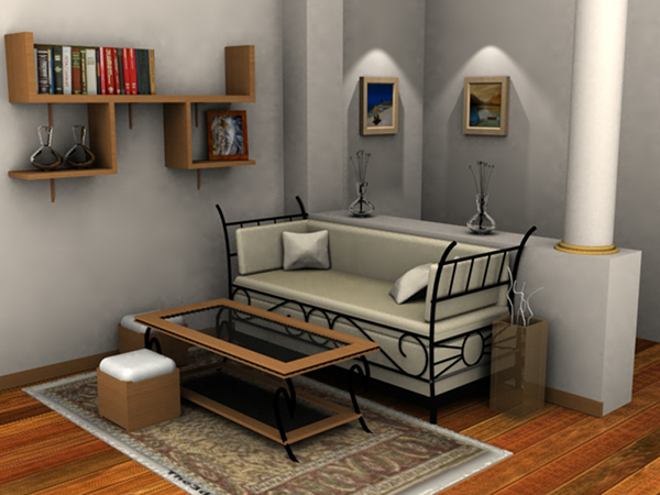 A living room render mental ray 3d max on behance for Living room 3ds max