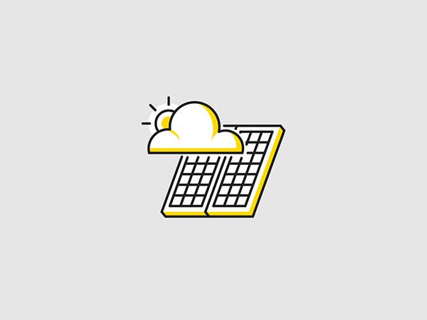 Solar Panels Icon Set On Pantone Canvas Gallery