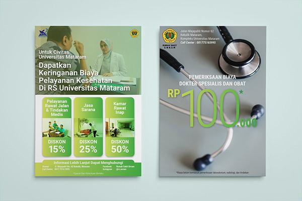 A Brochure or flyer that promotes Rumah Sakit Universitas Mataram's                 promo discount