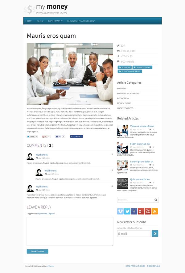 business Clean WordPress Theme custom features economic elegant theme Financial Theme free template Free WordPress minimalist monetary money white theme