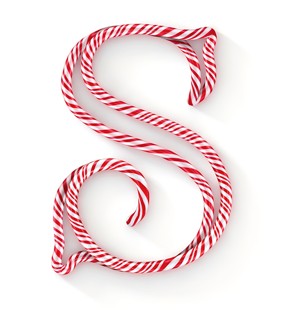 Candy stripes Christmas alphabet red White Cane type Typeface