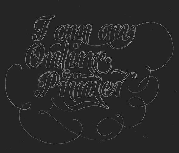 printer campaign poster ornaments red gold lettering hand-drawn process sketches