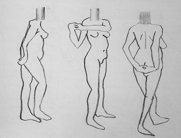 figure study model nude anatomy portrait self charcoal conte abstraction line ink pencil technical realistic
