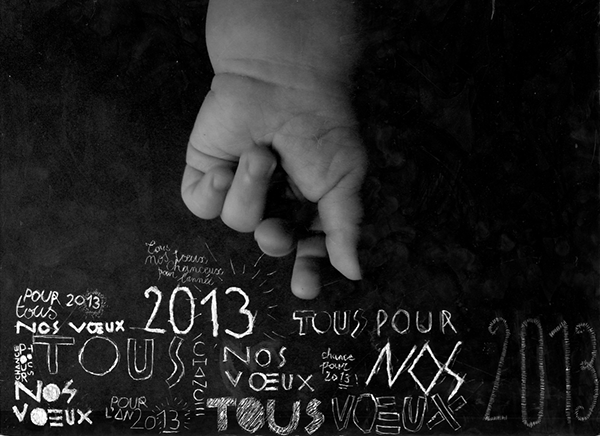 carte de voeux VOEUX 2013 screenprint sérigraphie surimpression macule serigraphie sur offset
