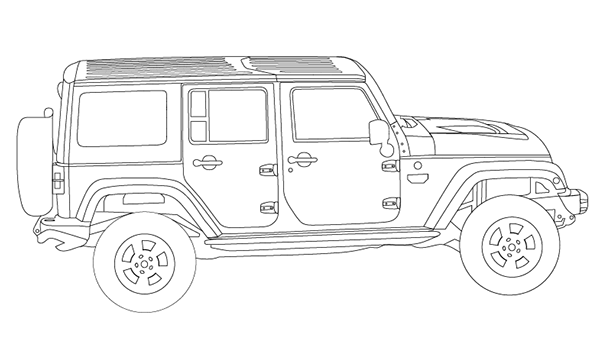Jeep Side View Drawing Technical Drawing Side