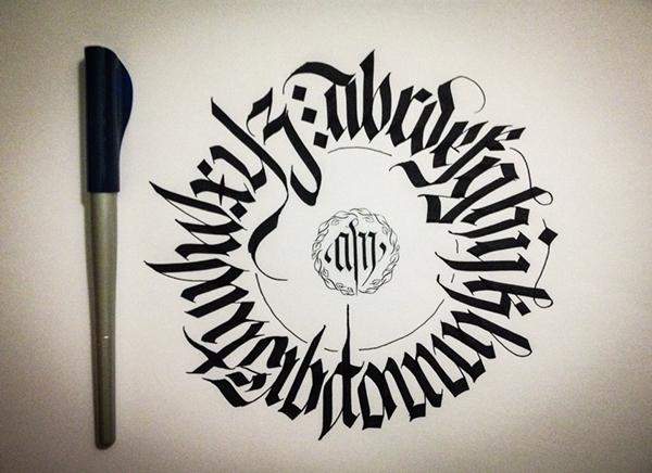 Calligraphy fraktur circular alphabet on behance