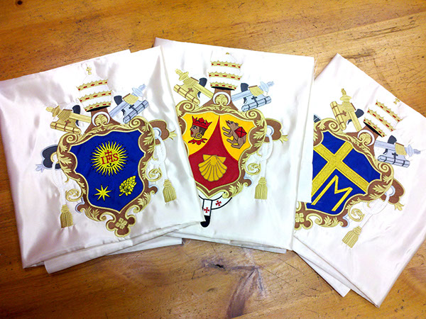 heraldic banner Embroidery Machine Embroidery papal coat of arms