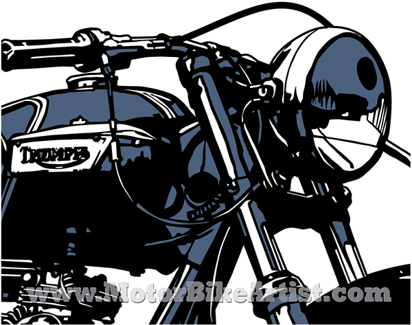 triumph bobber vintage motorcycle vector art drawing on