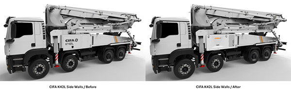 Redesigning the side walls of CIFA TRUCK Pump K42L.