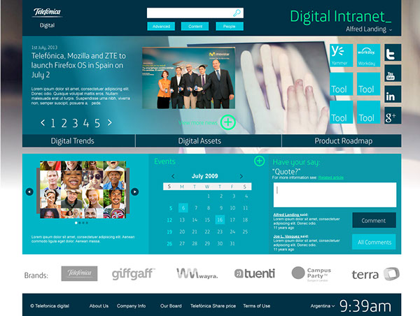 telefonica digital  intranet  on behance