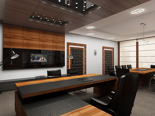 Public interior design 02 executive director office on behance for Office table 3d design