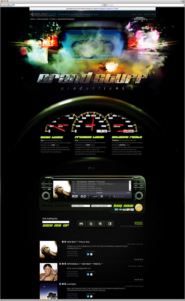 Various Soundclick designs 2008–2012 on Behance