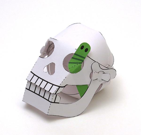 skull worm Halloween paper craft paper engineering