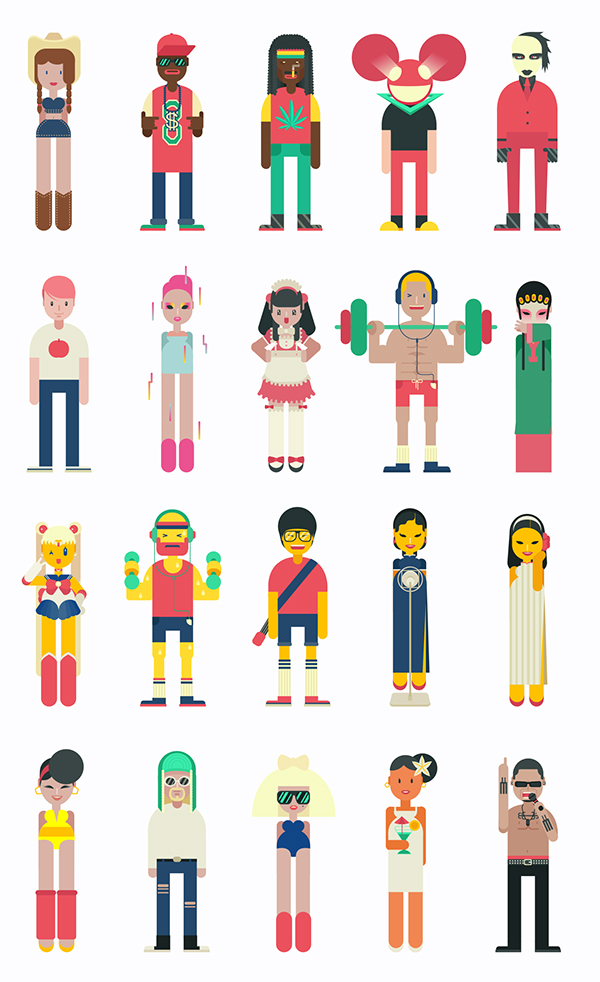 Character Design Shuffle App : Character design for music app on behance