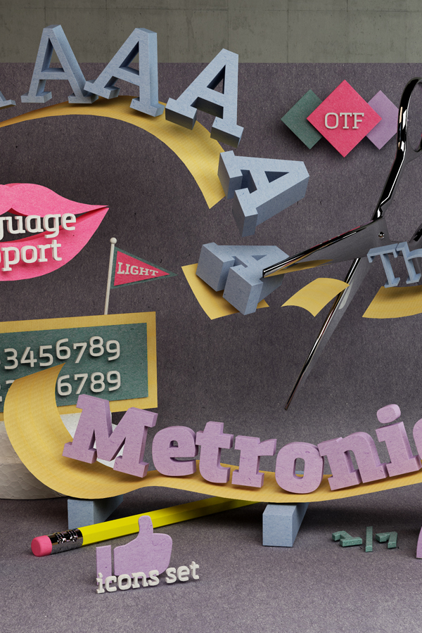 metronic slab typedesign 3D illustration mostardesign olivier Gourvat semi serif slab typeface cinema 4d papers craft paper colored paper cardboard graphic papers white paper