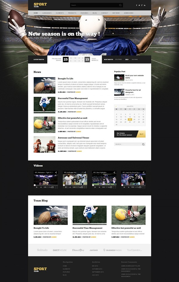 Sport Club - specialized WP theme for clubs and league on Be